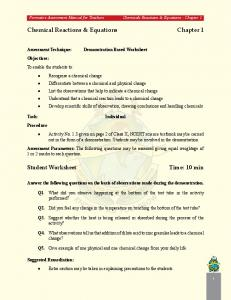 Chemical Reactions & Equations Chapter 1 Student Worksheet ...
