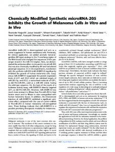 Chemically Modified Synthetic microRNA-205 Inhibits the ... - Cell Press