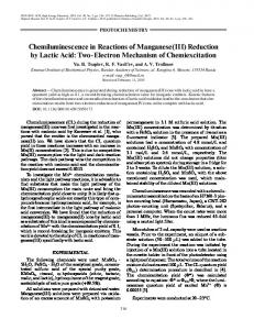 Chemiluminescence in Reactions of Manganese(III ... - Springer Link