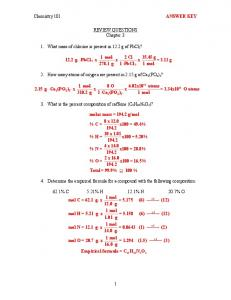 Chemistry 101 ANSWER KEY 1 REVIEW QUESTIONS Chapter 3 1 ...