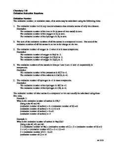 Chemistry 110 Oxidation Reduction Reactions Oxidation Number ...