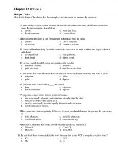 Chemistry-Chapter 6 Practice Test