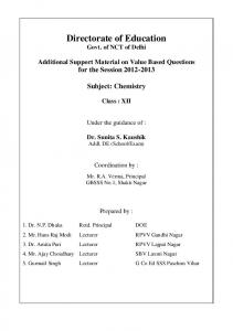 Chemistry Class : XII - Directorate of Education