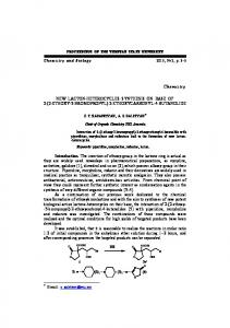 Chemistry NEW LACTON-HETEROCYCLES SYNTHESIS ON ... - YSU