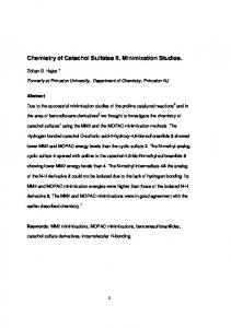 Chemistry of Catechol Sulfates II. Minimization Studies