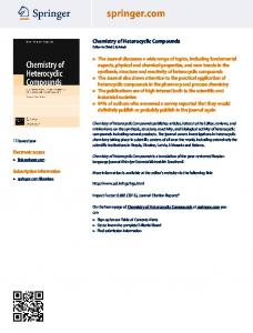 Chemistry of Heterocyclic Compounds - Springer