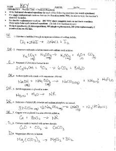CHEMISTRY _ Practice Test e Chemical Reactions