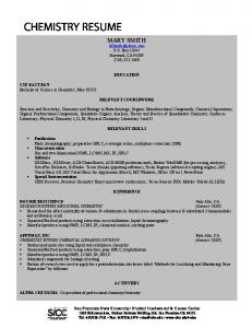 Chemistry Resume Example - San Francisco State University