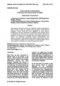 child abuse in malaysia - Malaysian Journal of Paediatrics and Child ...