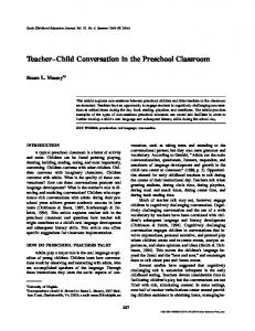 Child Conversation in the Preschool Classroom - Springer Link