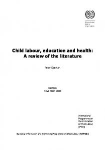 Child labour, education and health: A review of the literature