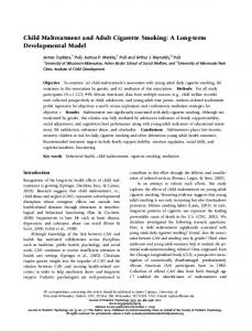 Child Maltreatment and Adult Cigarette Smoking: A ... - Oxford Academic