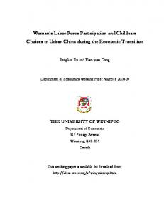 childcare in urban China 12-2010 - Economics - The University of ...