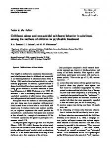 Childhood abuse and non-suicidal self-harm behavior in adulthood ...