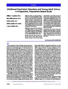 Childhood Psychiatric Disorders and Young Adult ... - Semantic Scholar