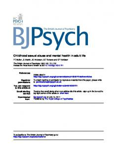 Childhood sexual abuse and mental health in adult life