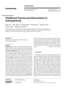 Childhood Trauma and Dissociation in Schizophrenia