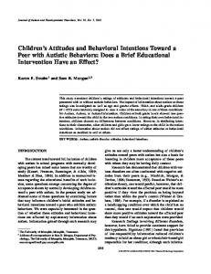 Children's Attitudes and Behavioral Intentions Toward a Peer with ...