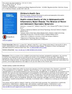 Children's Health Care Health-related Quality of Life ...