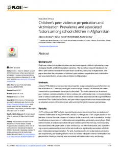 Children's peer violence perpetration and victimization - PLOS