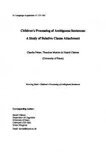 Children's Processing of Ambiguous Sentences