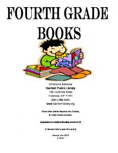 Children's Services Sachem Public Library 150 Holbrook Road ...