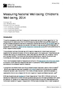 Children's Well-being, 2014 - Office for National Statistics