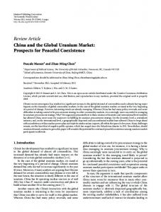 China and the Global Uranium Market: Prospects for Peaceful ...