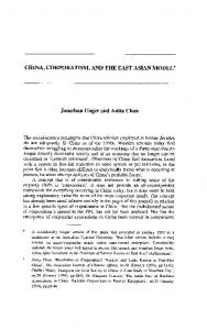 China, Corporatism, and the East Asian Model - Department of ...