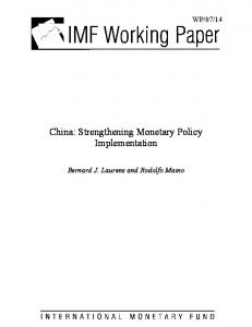 China: Strengthening Monetary Policy Implementation - SSRN papers