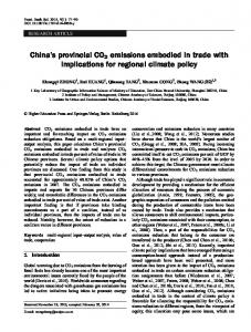 China's provincial CO2 emissions embodied in trade ... - Springer Link
