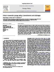 China's renewable energy policy Commitments and ...