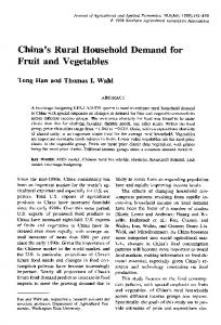China's Rural Household Demand for Fruit and ... - AgEcon Search