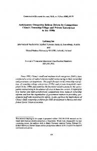 China's Township-Village and Private Enterprises in ... - (SSRN) Papers