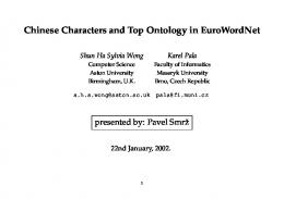 Chinese Characters and Top Ontology in EuroWordNet