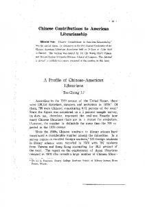Chinese Contributions to American