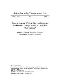 Chinese Migrant Worker Representation and Institutional Change ...