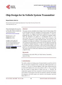 Chip Design for In-Vehicle System Transmitter - Scientific Research