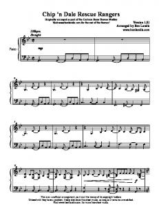 Chip 'n Dale Rescue Rangers piano sheet music