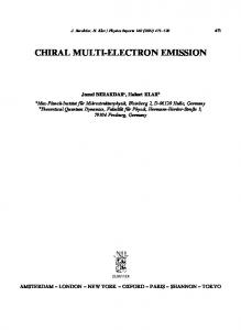 chiral multi-electron emission - Max Planck Institute of Microstructure ...