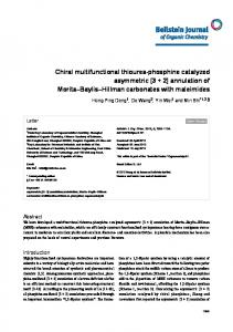 Chiral multifunctional thiourea-phosphine catalyzed ... - Beilstein Journal
