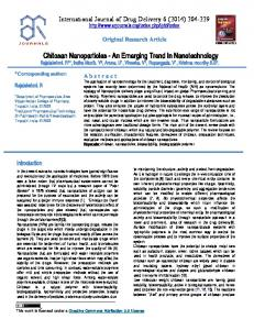 Chitosan Nanoparticles - Advanced Research Journals