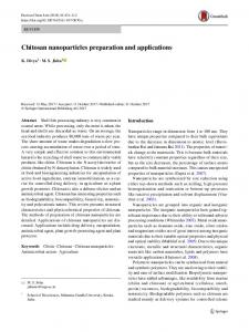 Chitosan nanoparticles preparation and applications - Springer Link