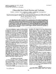 Chlamydial Heat Shock Proteins and Trachoma - Infection and Immunity