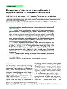 chloride content in perioperative and critical care - Wiley Online Library