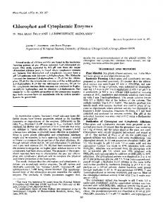 Chloroplast and Cytoplasmic Enzymes - NCBI