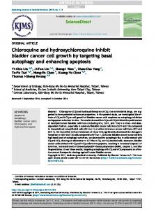 Chloroquine and hydroxychloroquine inhibit bladder cancer cell ...