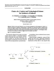 Choice of a Catalyst and Technological Scheme for ... - Springer Link