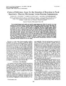 Choice of Reference Assay for the Detection of Rotavirus in Fecal ...