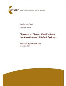 Choice or no Choice: What Explains the ... - University of Tilburg